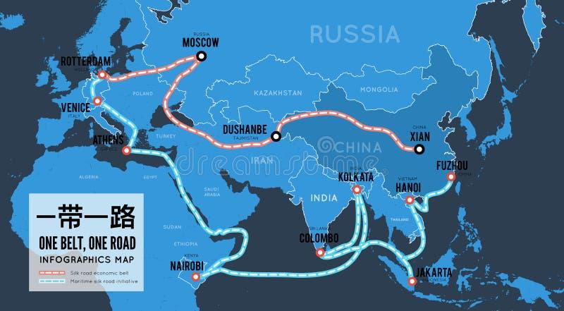 Eine Straße des Gurtes einer Seidenstraße des neuen Chinesehandels Vektorkarte infographics vektor abbildung