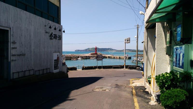 Eine Straße im Hafen lizenzfreie stockfotos
