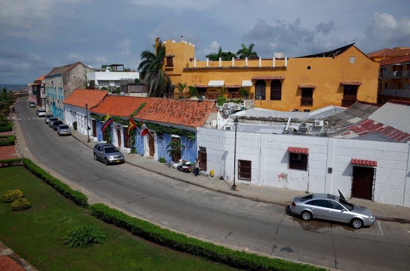 Eine Straße am Rand Cartagenas lizenzfreies stockbild
