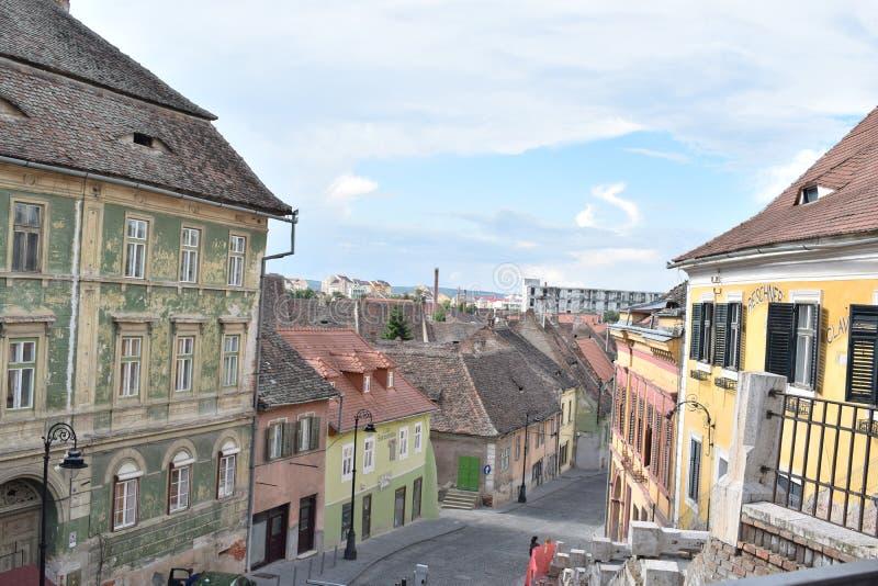 Eine Straße in Sibiu lizenzfreies stockbild