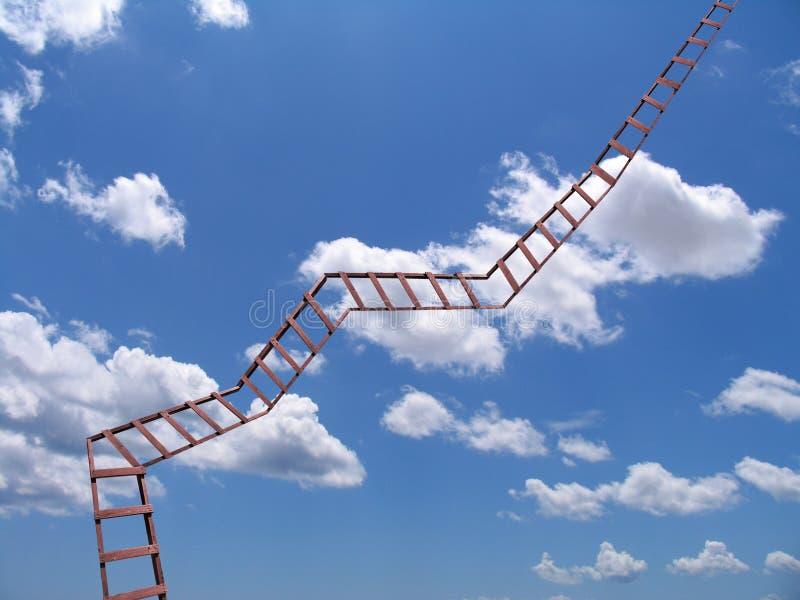 Eine Strichleiter zum Himmel stockbild