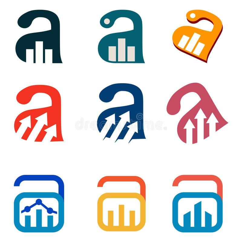 Eine Symbol-Zusammenfassungs-Art mit Pfeil-Gebäude-Diagramm-Statistik-Paket lizenzfreie abbildung