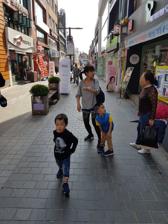 Eine Szene auf der Straße von Südkorea stockbild