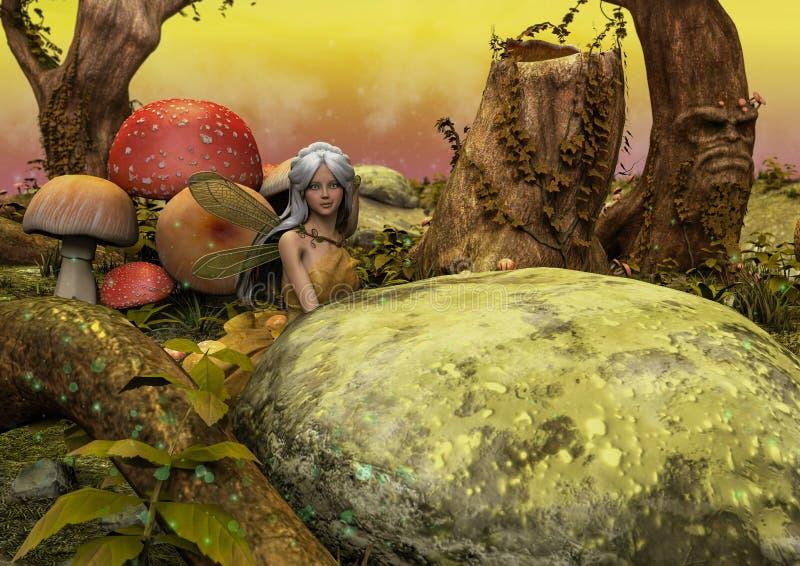 Eine Szene einer Fantasiewiese mit einer kleinen Fee versteckt hinter einem Felsen stock abbildung