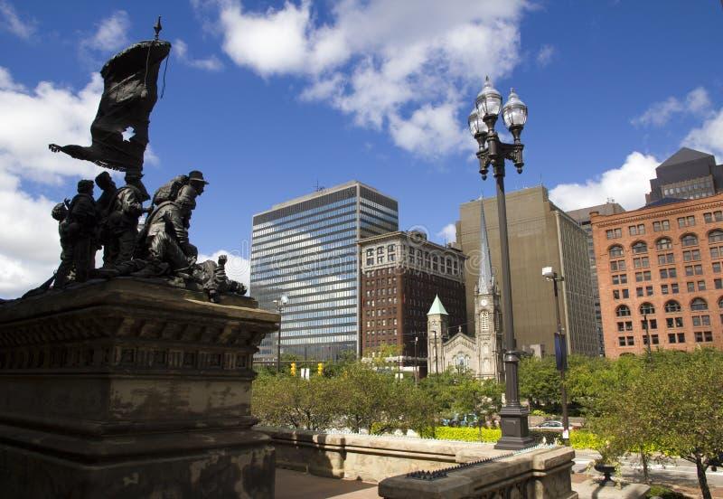 Eine Szene in im Stadtzentrum gelegenem Cleveland Ohio stockbild