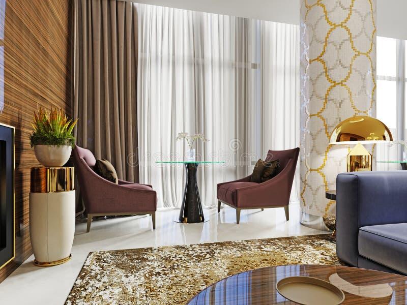 Eine Tabelle im Restaurant für zwei Personen mit Burgunder-farbigen weichen Stühlen und einem Glastisch lizenzfreie abbildung