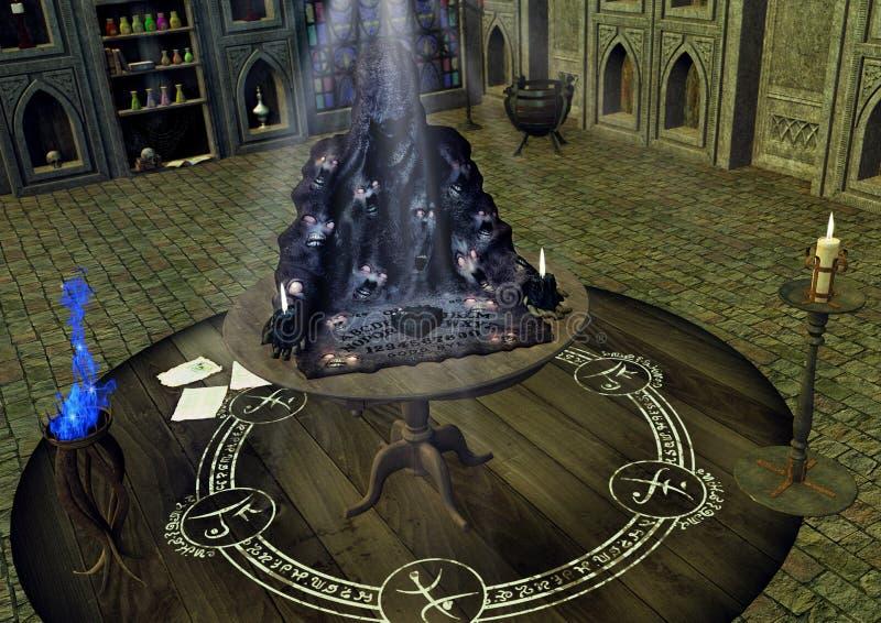 Eine Tabelle mit einem gruseligen Ouija-Brett mit den Seelen, die von ihm erlöschen stock abbildung
