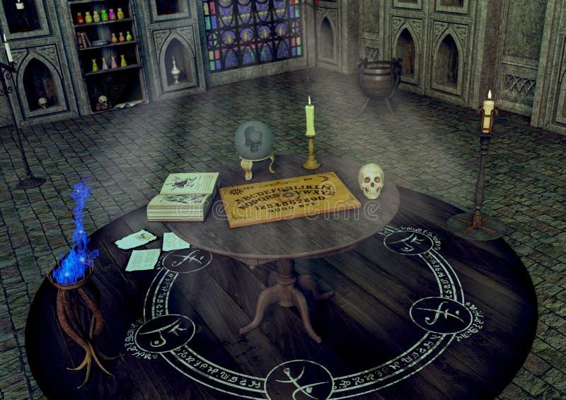 Eine Tabelle mit einem Ouija-Brett, einer Kerze, einer Glaskugel und einem Schädel in einem Fantasietempel vektor abbildung