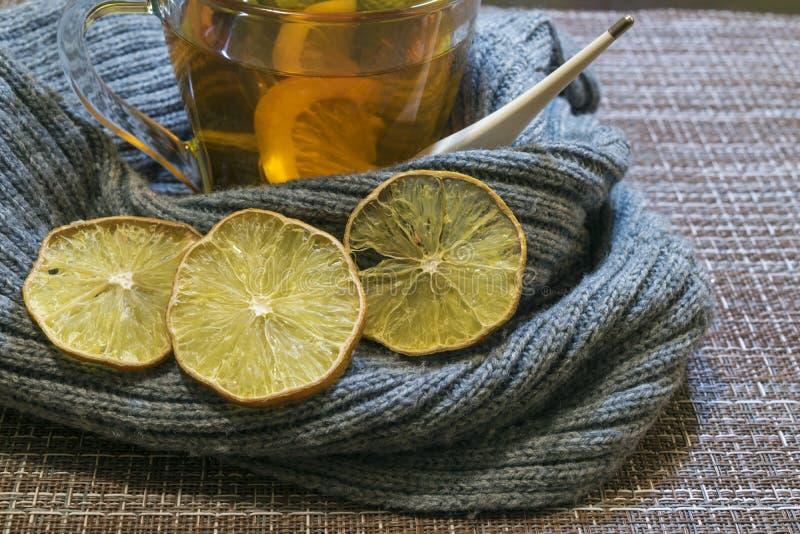 Eine Tasse Tee mit der Zitrone eingewickelt in einem weichen grauen Schal Getrocknete Zitronenkeile lizenzfreie stockbilder