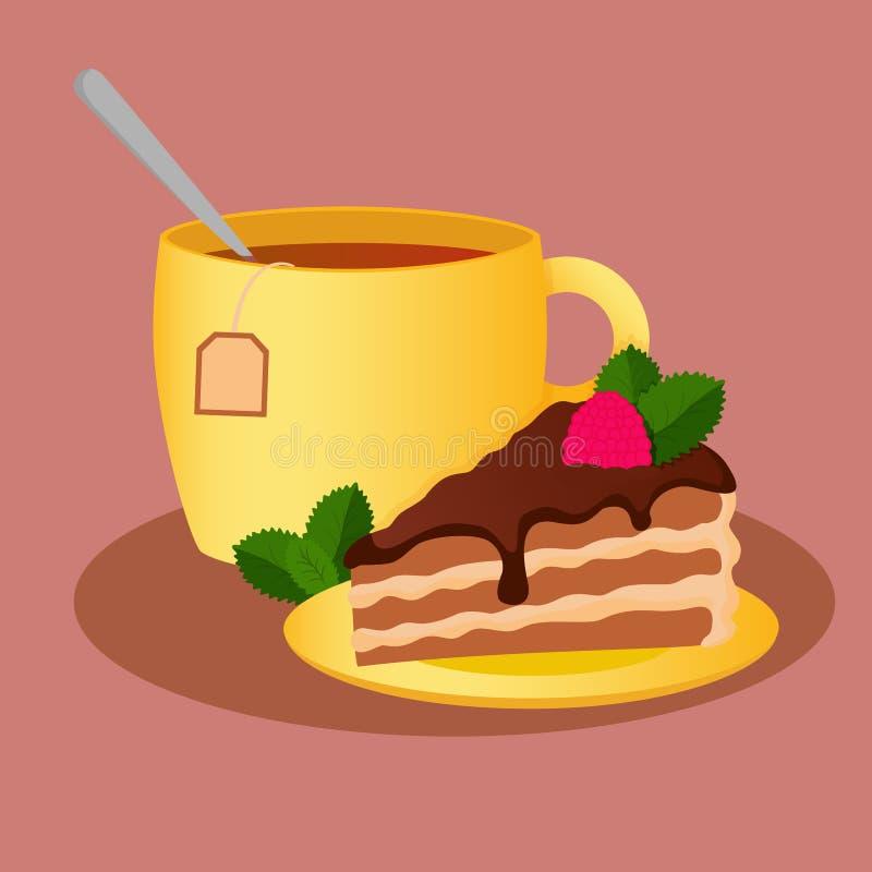 Eine Tasse Tee mit einem piace des Kuchens vektor abbildung