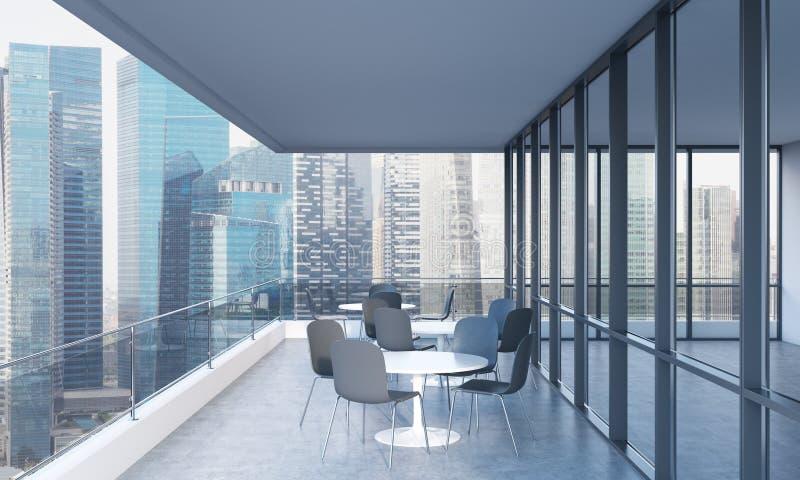 Eine Terrasse mit Tabellen und Stühlen in einem modernen panoramischen Gebäude Wiedergabe 3d vektor abbildung