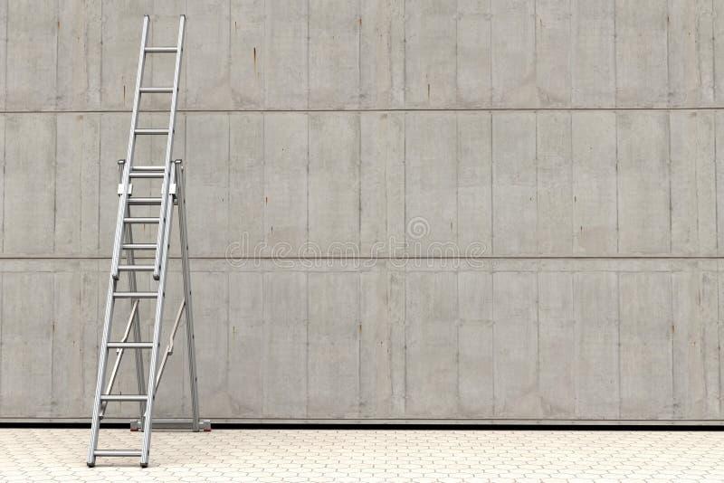 Eine tragbare Leiter gegen eine Betonmauer lizenzfreie abbildung