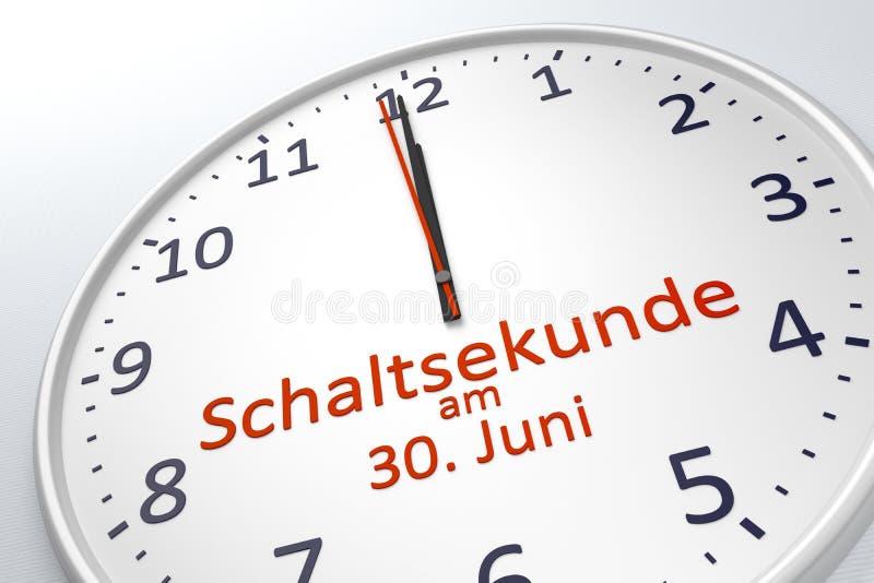 Eine Uhr, die Schaltsekunde an am 30. Juni in der deutschen Sprache zeigt lizenzfreie abbildung