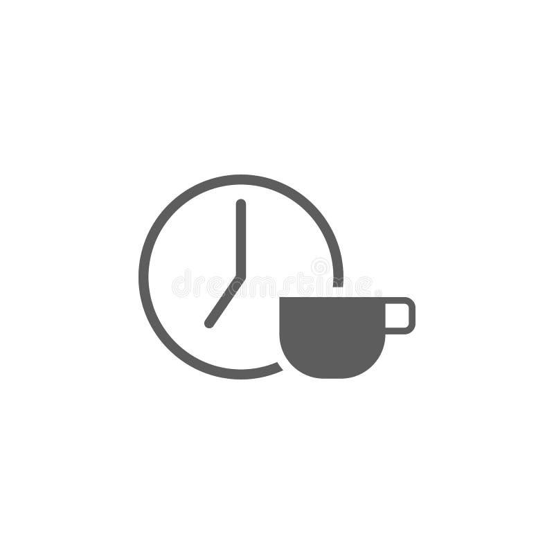 eine Uhr und eine Tasse Kaffee-Ikone Element der Finanz- und Geschäftsikone Erstklassige Qualitätsgrafikdesignikone Zeichen und S vektor abbildung