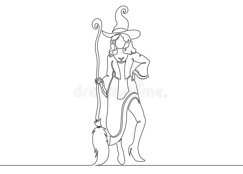 Eine ununterbrochene gezeichnete einzelne Zeile einer Hexe Halloween lizenzfreie abbildung