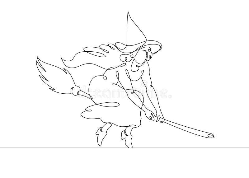 Eine ununterbrochene gezeichnete einzelne Zeile einer Hexe Halloween vektor abbildung