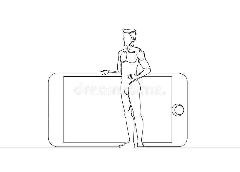 Eine ununterbrochene gezeichnete einzelne Zeile eines Mannes steht nahe bei einem großen Handy vektor abbildung