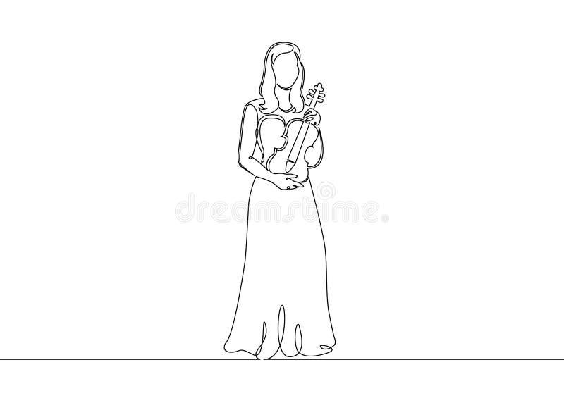 Eine ununterbrochene gezogene einzelne Zeile eines Musikers wird von einer Violinistfrau gespielt stock abbildung