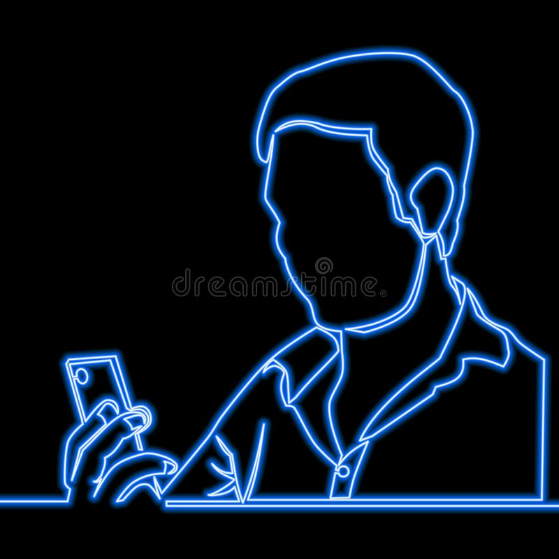 Eine ununterbrochene gezogene Linie Mann mit Smartphoneneon vektor abbildung