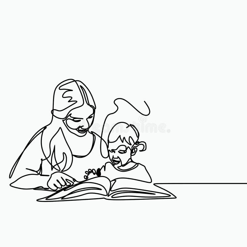 Eine ununterbrochene Linie Kunstzeichnung mit einer Mutter, die ihr Babykind durch das Ablesen eines Buches und das Erzählen von  stock abbildung