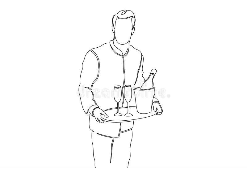 Eine ununterbrochene unclosed einzelne Zeile gezeichnet vom Kellner mit einem Bestellungsbehälter vektor abbildung
