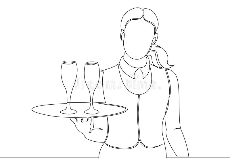 Eine ununterbrochene unclosed einzelne Zeile gezeichnet vom Kellner mit einem Bestellungsbehälter lizenzfreie abbildung