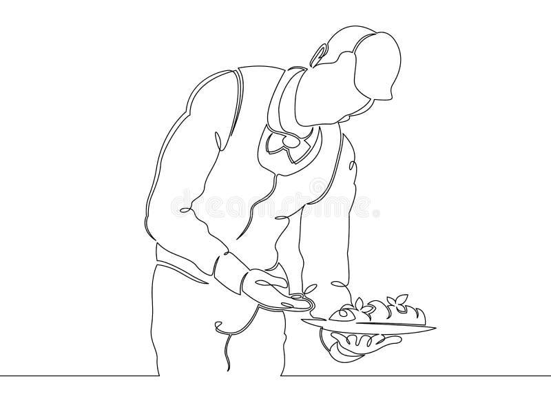 Eine ununterbrochene unclosed einzelne Zeile gezeichnet vom Kellner mit einem Bestellungsbehälter stock abbildung
