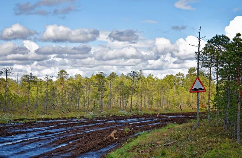 Eine unwegsame Straße im sibirischen taiga lizenzfreie stockfotografie