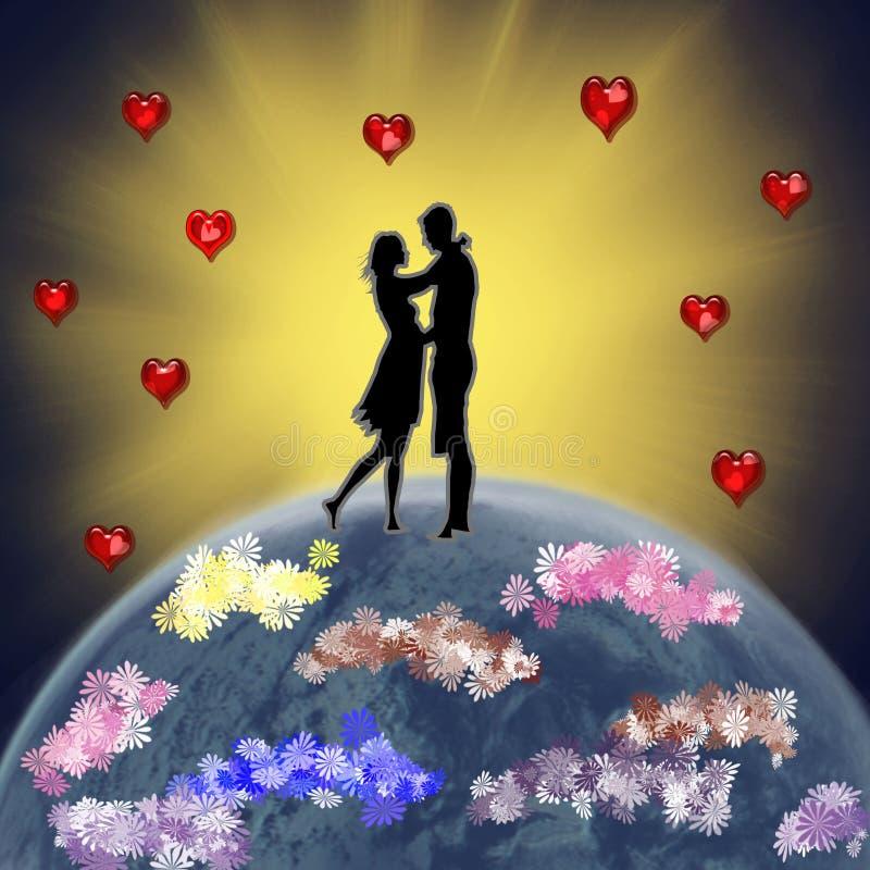 Eine Valentinsgruß ` s Karte mit Liebhabern im Hintergrund der Sonne stock abbildung