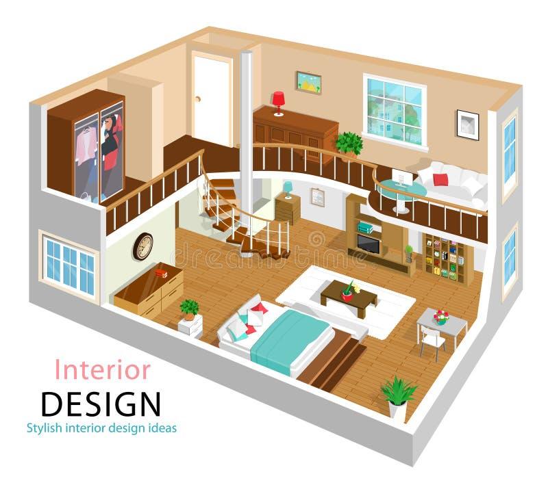 Eine Vektorillustration einer Innenarchitektur der modernen ausführlichen isometrischen Wohnung isometrischer Innenraum des Raume lizenzfreie abbildung