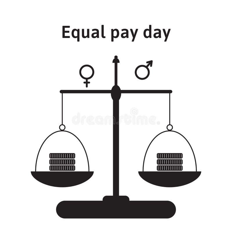 Eine Vektorillustration für Tag der gleichen Entlohnung im April Die Korrektur des Betrachtens von Lohnungleichheit zwischen Männ lizenzfreie abbildung