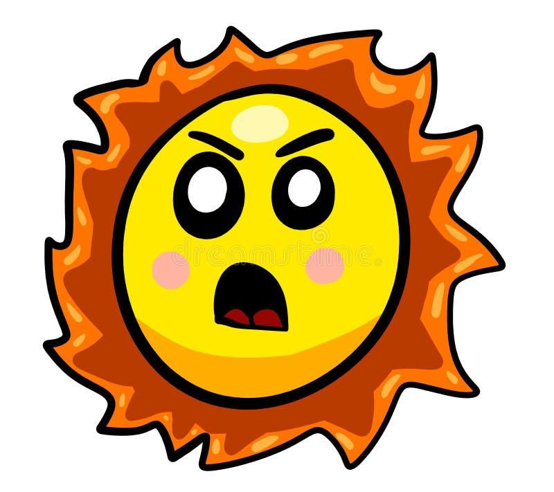 Eine verärgerte schauende Karikatur Sun lizenzfreie abbildung