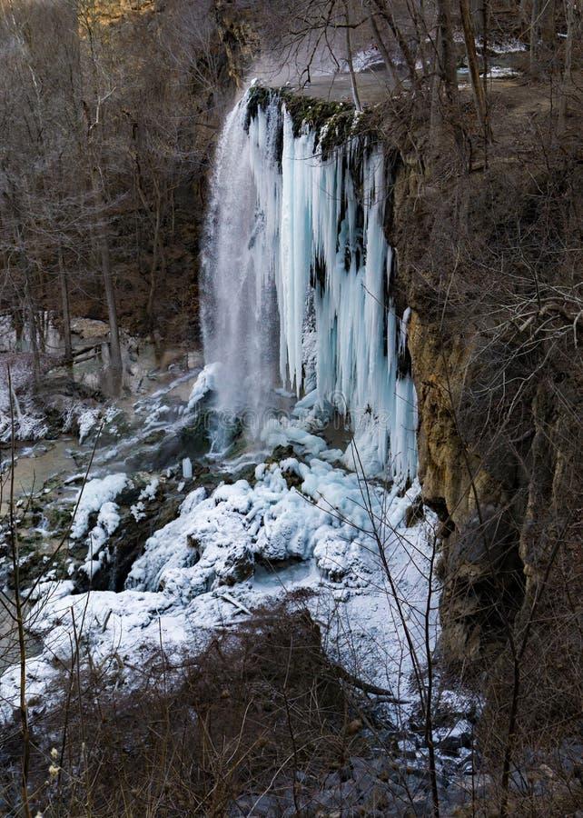 Eine vertikale Ansicht des gefrorenen fallenden Frühlinges fällt stockbild
