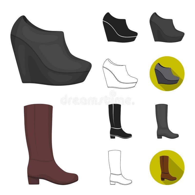 Eine Vielzahl der Schuhkarikatur, Schwarzes, flach, einfarbig, Entwurfsikonen in der Satzsammlung für Design Stiefel, Turnschuhve stock abbildung