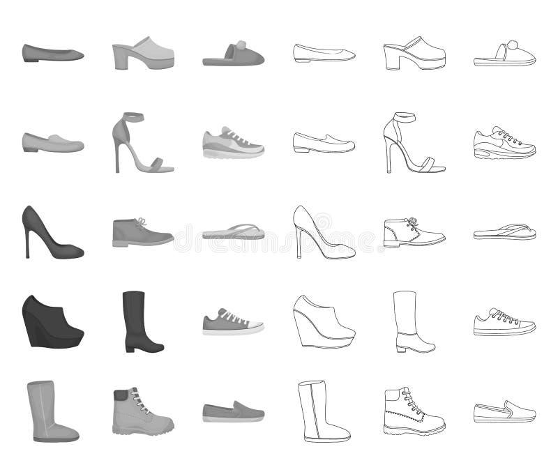 Eine Vielzahl von den Schuhen mono, Entwurfsikonen in gesetzter Sammlung für Entwurf Stiefel, Turnschuhe vector Netzillustration  vektor abbildung