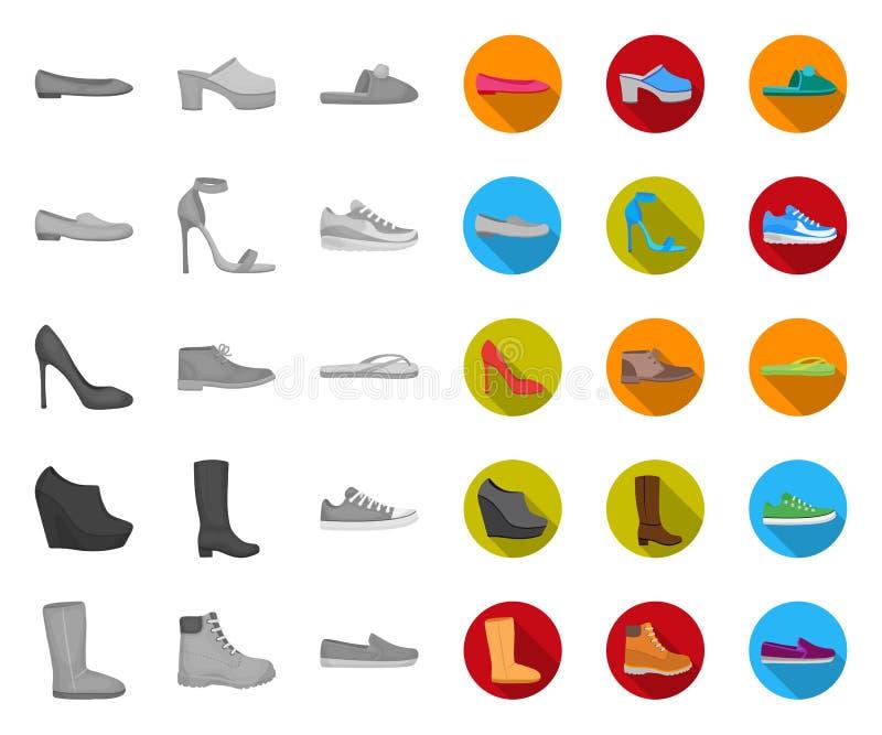 Eine Vielzahl von den Schuhen mono, flache Ikonen in gesetzter Sammlung für Entwurf Stiefel, Turnschuhe vector Netzillustration d stock abbildung
