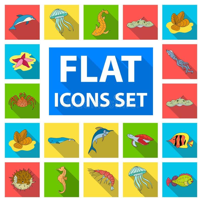 Eine Vielzahl von flachen Ikonen der Meerestiere in der Satzsammlung für Design Fisch- und Schalentiervektorsymbol-Vorratnetz lizenzfreie abbildung