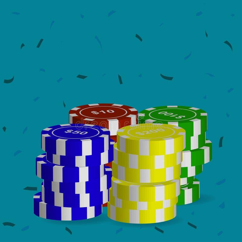 Eine Vielzahl von Pokerchips des unterschiedlichen Wertes Auch im corel abgehobenen Betrag vektor abbildung