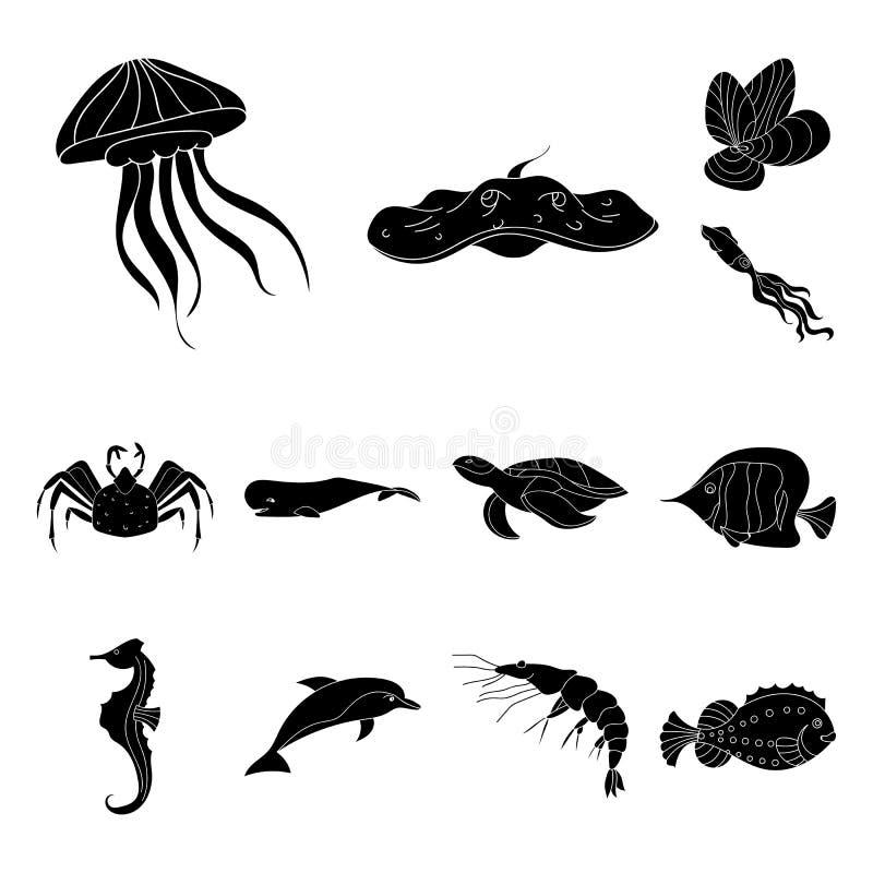 Eine Vielzahl von schwarzen Ikonen der Meerestiere in der Satzsammlung für Design Fisch- und Schalentiervektorsymbol-Vorratnetz stock abbildung