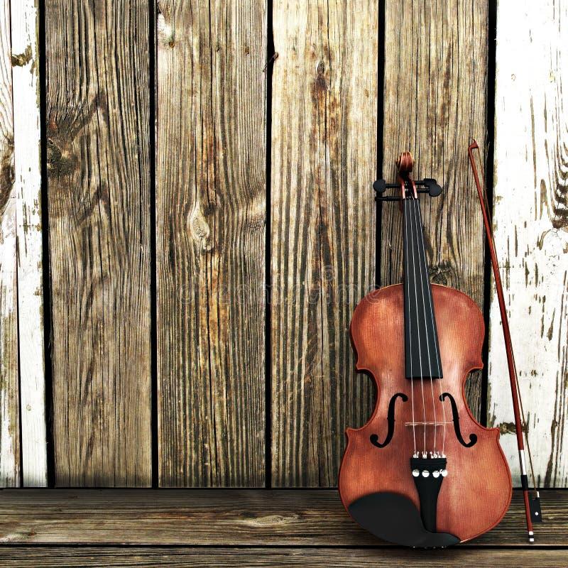 Eine Violine, die auf einem Bretterzaun sich lehnt vektor abbildung