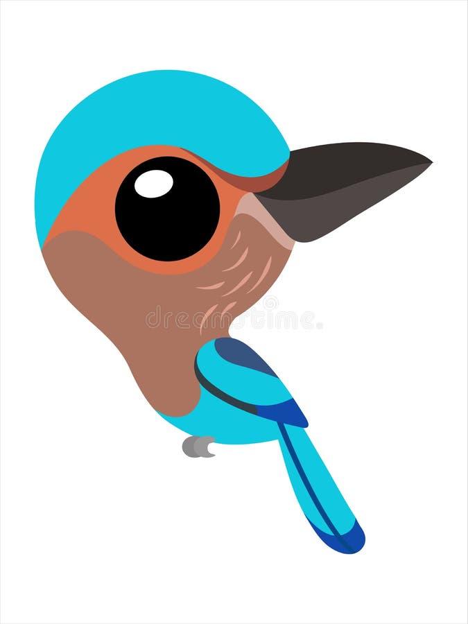 Eine Vogelkarikatur, netter blauer Vogel der großen Augen von der indischen Rolle stockbilder