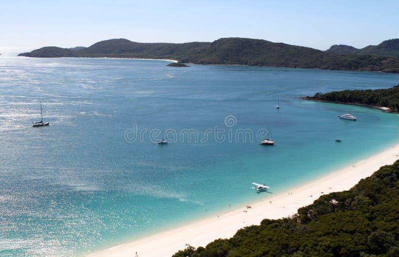 Eine Vogelperspektive des südlichen Endes Whitehaven-Strandes, Pfingstsonntag-Insel, Queensland lizenzfreies stockbild
