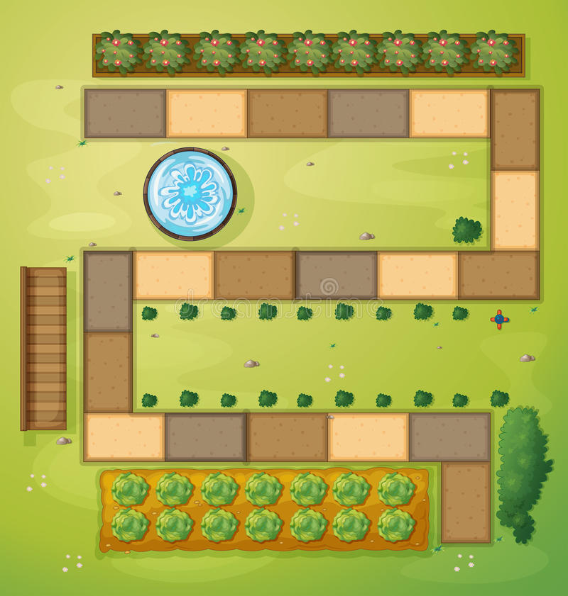 Eine Vogelperspektive eines Gartens vektor abbildung