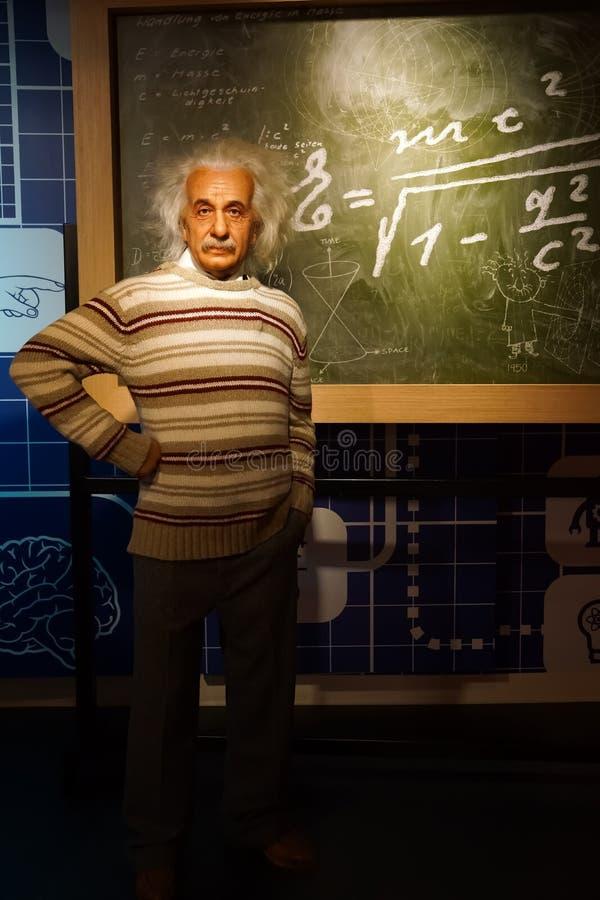 Eine Wachsfigur von Albert Einstein am Wachsmuseum Madame Tussauds lizenzfreies stockfoto