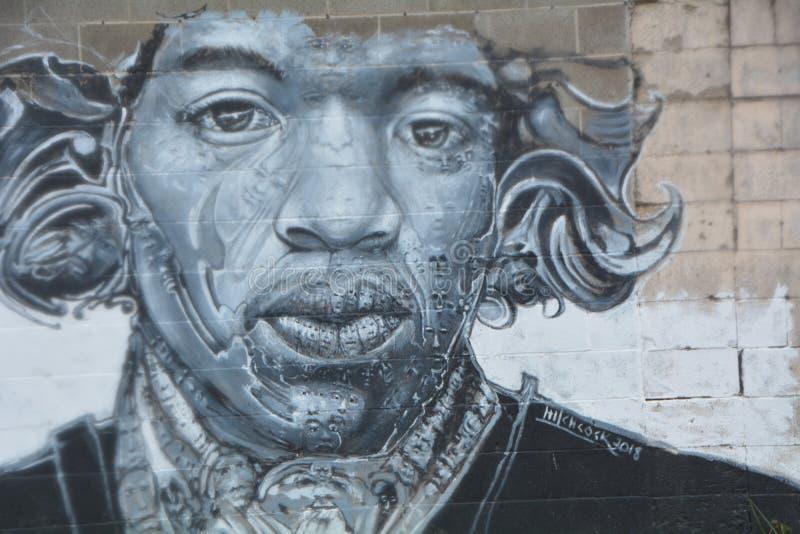 Eine Wandlung von Jimi Hendrix in Corvallis Oregon stockbild