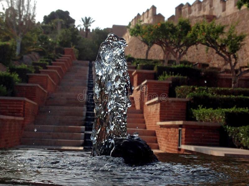 Eine Wasserquelle in Alcazaba von Almeria lizenzfreies stockfoto