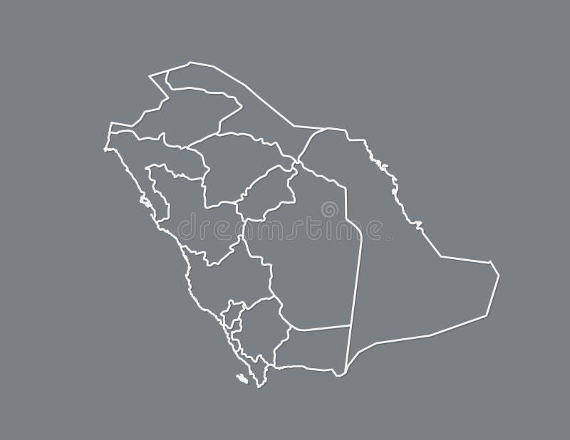 Eine weiße klare Saudi-Arabien Karte mit Grenzen von Regionen auf dunklem Hintergrundvektor lizenzfreie abbildung