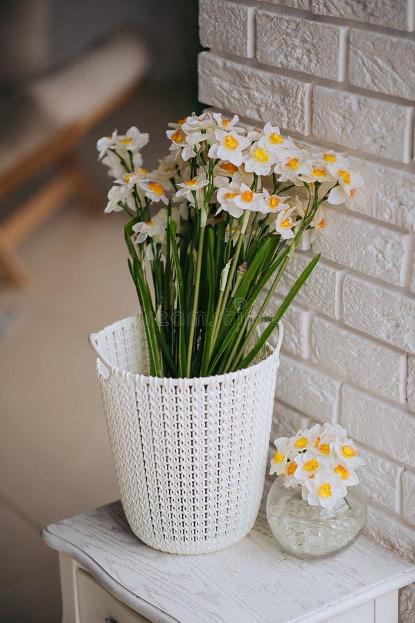 Eine weiße und orange schöne Blume lizenzfreie stockbilder