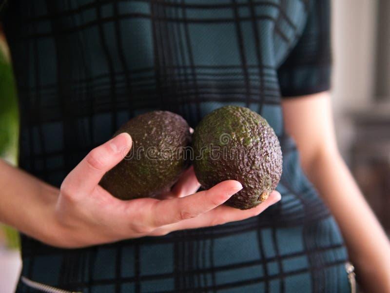 Eine weibliche Hand, die zwei Avocados hält lizenzfreies stockfoto