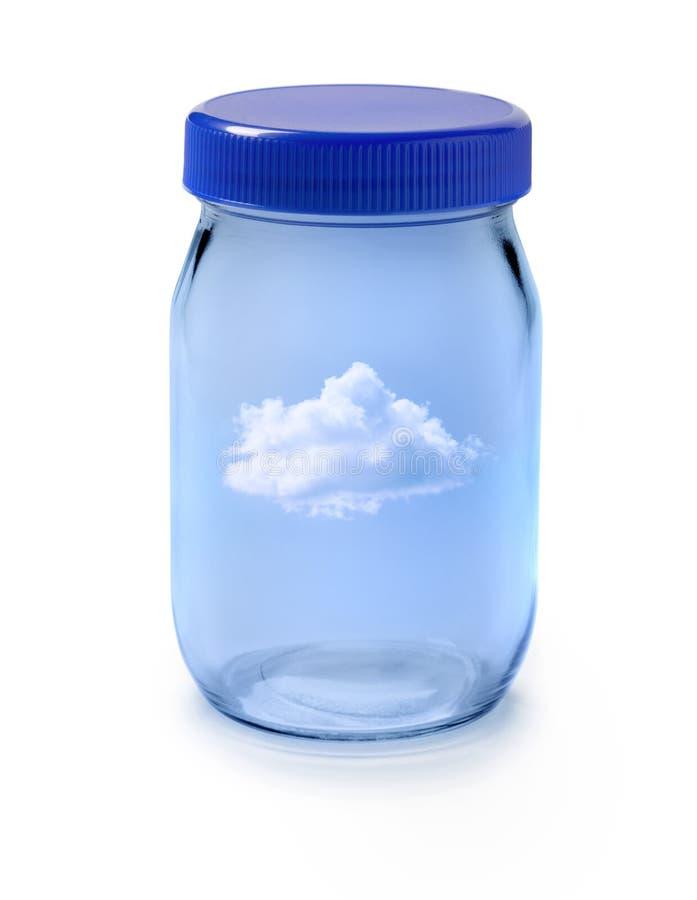 Eine Wolke in einem Glas stockbild